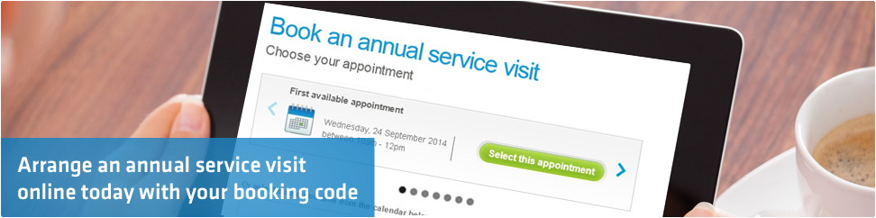 Arrange an annual service visit online today with your booking code